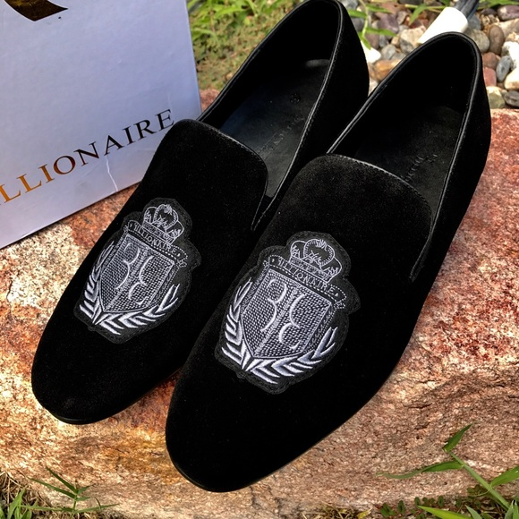 d2d960520dd Billionaire Loafers Black Suede Embroidered Size 8